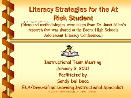 Literacy Strategies for the At Risk Student (Ideas and methodologies were taken from Dr. Janet Allen's research that was shared at the Bronx High Schools.
