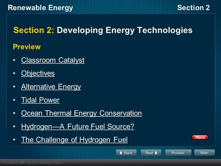 Section 2: Developing Energy Technologies