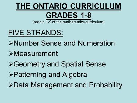 Comparison Of Standards NCTM Number and Operations Algebra ...