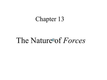Chapter 13 The Nature of Forces.