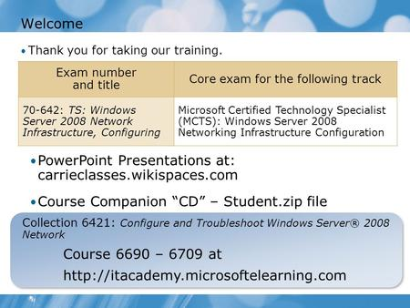 Welcome Thank you for taking our training. Collection 6421: Configure and Troubleshoot Windows Server® 2008 Network Course 6690 – 6709 at