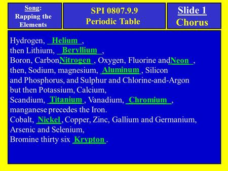 Song: Rapping the Elements Hydrogen,, then Lithium,, Boron, Carbon,, Oxygen, Fluorine and _____, then, Sodium, magnesium,, Silicon and Phosphorus, and.