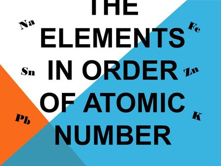 PRACTICE THE ELEMENTS IN ORDER OF ATOMIC NUMBER Na Fe Pb Zn Sn K.