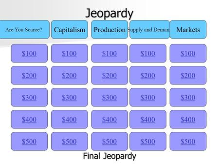 Jeopardy $100 Are You Scarce? CapitalismProduction Supply and Demand Markets $200 $300 $400 $500 $400 $300 $200 $100 $500 $400 $300 $200 $100 $500 $400.