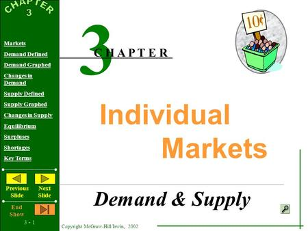 3 - 1 Copyright McGraw-Hill/Irwin, 2002 Markets Demand Defined Demand Graphed Changes in Demand Supply Defined Supply Graphed Changes in Supply Equilibrium.