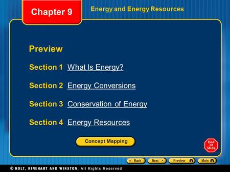 Chapter 9 Preview Section 1 What Is Energy?