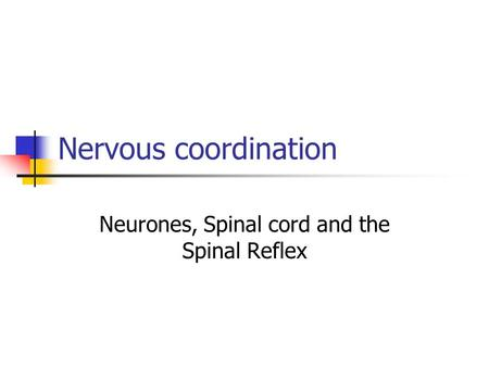Nervous coordination Neurones, Spinal cord and the Spinal Reflex.