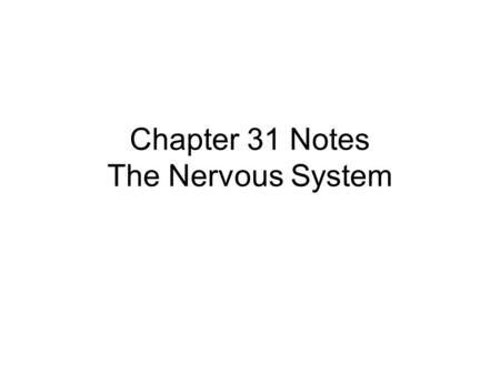 Chapter 31 Notes The Nervous System. The Nervous System: is a rapid communication system using electrical signals. enables movement, perception, thought,