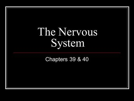 The Nervous System Chapters 39 & 40. Overview Three overlapping functions: sensory input, integration, and motor output Sensory input – the conduction.