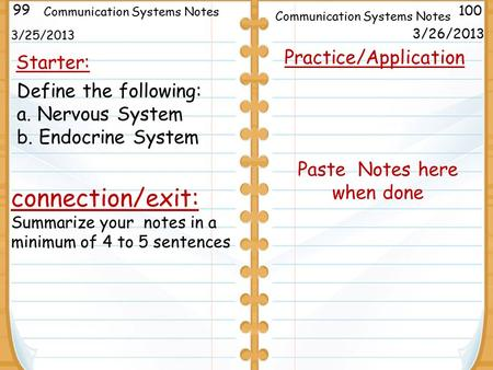 3/25/2013 Starter: 99 100 Communication Systems Notes connection/exit: Summarize your notes in a minimum of 4 to 5 sentences Practice/Application Paste.