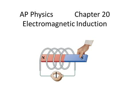 AP Physics Chapter 20 Electromagnetic Induction. Chapter 20: Electromagnetic Induction 20.1:Induced Emf's: Faraday's Law and Lenz's Law 20.2-4: Omitted.