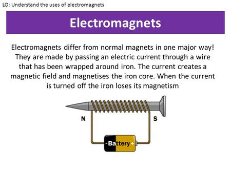 LO: Understand the uses of electromagnets