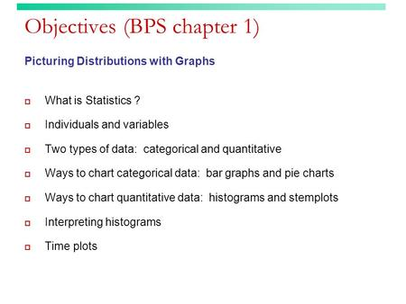 Objectives (BPS chapter 1)