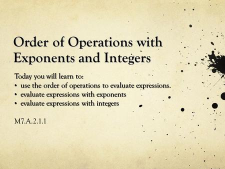 Order of Operations with Exponents and Integers