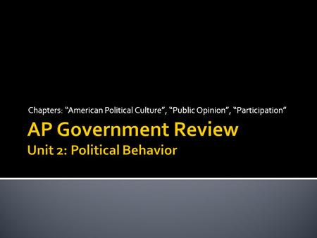 AP Government Review Unit 2: Political Behavior