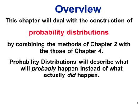1 Overview This chapter will deal with the construction of probability distributions by combining the methods of Chapter 2 with the those of Chapter 4.