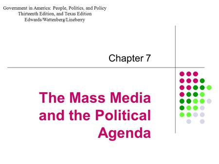 The Mass Media and the Political Agenda