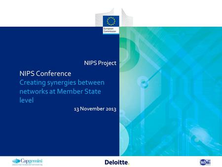 NIPS Project 13 November 2013 NIPS Conference Creating synergies between networks at Member State level.