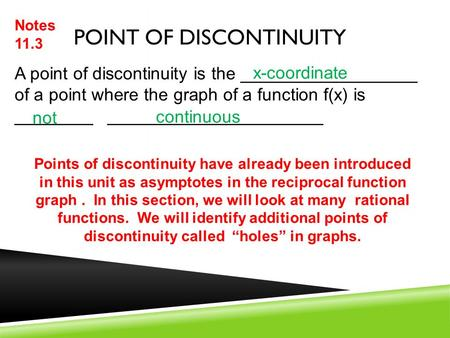 Point of Discontinuity