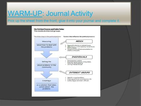WARM-UP: Journal Activity Pick up the sheet from the front, glue it into your journal and complete it.