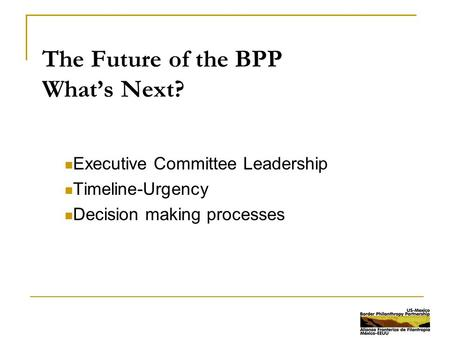 The Future of the BPP What's Next? Executive Committee Leadership Timeline-Urgency Decision making processes.