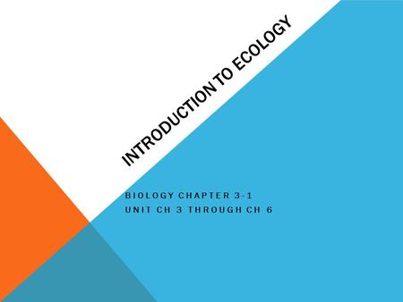 INTRODUCTION TO ECOLOGY BIOLOGY CHAPTER 3-1 UNIT CH 3 THROUGH CH 6.