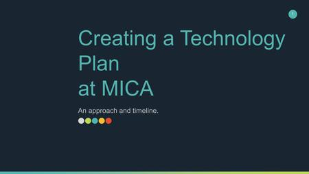 Creating a Technology Plan at MICA An approach and timeline. 1.