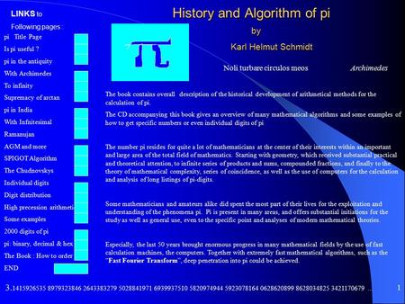 pi Title Page Is pi useful ? pi in the antiquity With Archimedes <strong>To</strong> infinity Supremacy of arctan pi in India With Infnitesimal Ramanujan AGM and more.