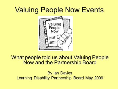 Valuing People Now Events
