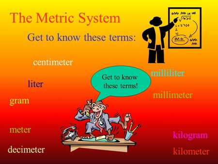 The Metric System Get to know these terms: centimeter millimeter meter kilometer decimeter gram kilogram milliliter liter Get to know these terms!