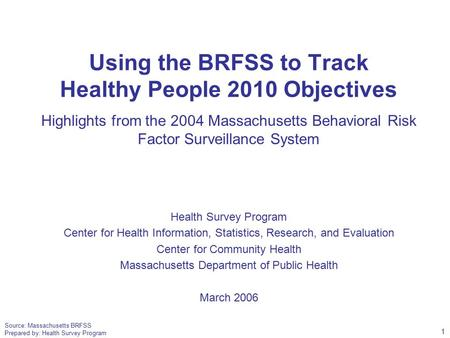 Source: Massachusetts BRFSS Prepared by: Health Survey Program Using the BRFSS to Track Healthy People 2010 Objectives Highlights from the 2004 Massachusetts.