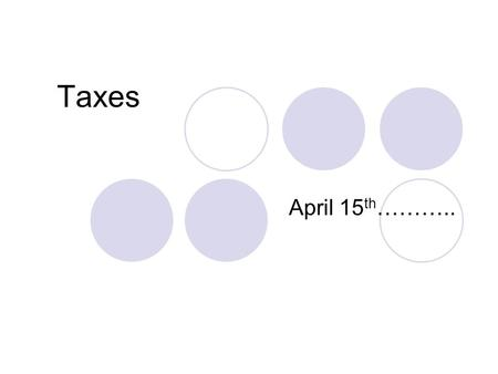 Taxes April 15 th ………... Tax Terms Withholdings money from paycheck that goes to prepay your federal income taxes.