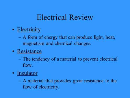 Electrical Review Electricity Resistance Insulator