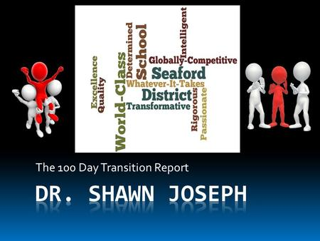 The 100 Day Transition Report. Objectives  Review Guiding Beliefs  Discuss 100 Day Activities  Discuss Findings  Discuss Next Steps.