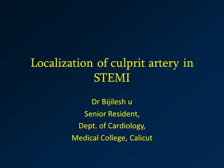 Localization of culprit artery in STEMI