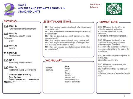 Teaching measurement MATH 124  Key ideas in teaching