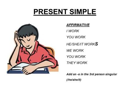 PRESENT SIMPLE AFFIRMATIVE I WORK YOU WORK HE/SHE/IT WORKS WE WORK