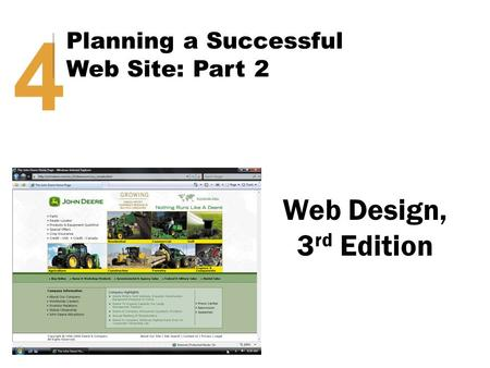 Web Design, 3 rd Edition 4 Planning a Successful Web Site: Part 2.