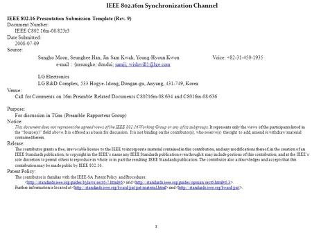 802.16m Preamble RG Report IEEE Presentation Submission Template ...