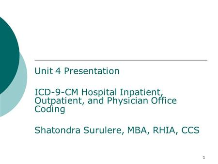 1 Chapter 5 Unit 4 Presentation ICD-9-CM Hospital Inpatient, Outpatient, and Physician Office Coding Shatondra Surulere, MBA, RHIA, CCS.