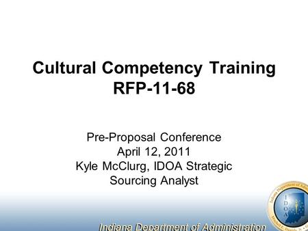Cultural Competency Training RFP-11-68