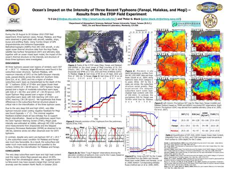 Ocean's Impact on the Intensity of Three Recent Typhoons (Fanapi, Malakas, and Megi) – Results from the ITOP Field Experiment 1 I-I Lin