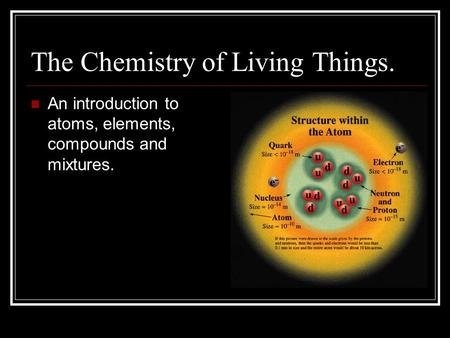 The Chemistry of Living Things.
