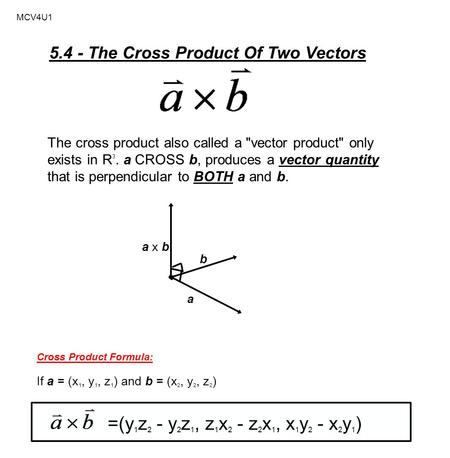The Cross Product Third Type Of Multiplying Vectors Ppt Download