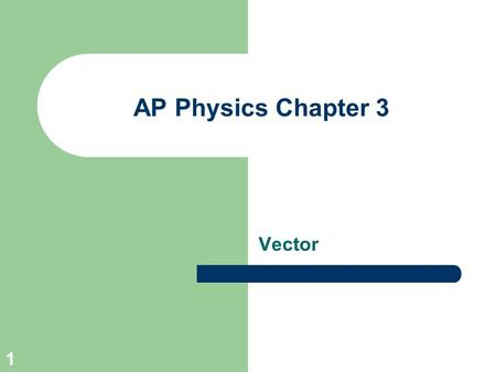 AP Physics Chapter 3 Vector.