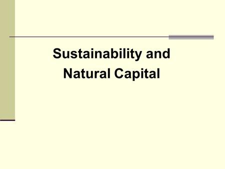 Sustainability and Natural Capital. In every deliberation, we must consider the impact on the seventh generation... 'What about the seventh generation?