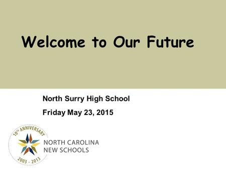 Click to edit Master title style North Surry High School Friday May 23, 2015 Welcome to Our Future.