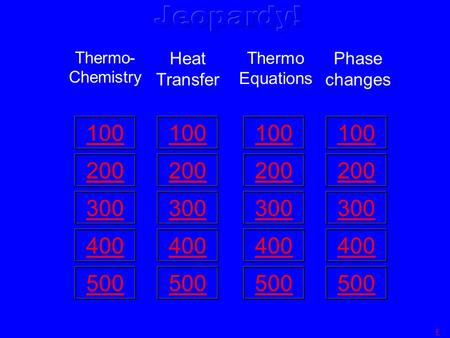 100 200 300 400 500 Thermo- Chemistry 100 200 300 400 500 Heat Transfer 100 200 300 400 500 Thermo Equations 100 200 300 400 500 Phase changes F.