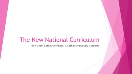 The New National Curriculum Holy Cross Catholic Primary: A Catholic Voluntary Academy.