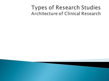  Be familiar with the types of research study designs  Be aware of the advantages, disadvantages, and uses of the various research design types  Recognize.